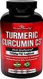 Turmeric Curcumin C3 with BioPerine Black Pepper Extract - 750mg per Capsule, 120 Veg. Capsules - GMO Free Tumeric, Standardized to 95% Curcuminoids for Maximum Potency