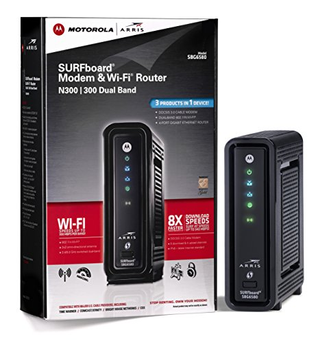 ARRIS / Motorola SURFboard SBG6580 DOCSIS 3.0 Cable Modem and Wi-Fi N Router- Retail Packaging (570763-006-00)