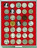 Lindner 2135 Münzenbox mit 35 quadratischen Vertiefungen für Münzen/Münzenkapseln mit Ø 36 mm-Grau / rote Einlage von Lindner
