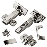 Blum CLIP top BLUMOTION Soft Close Hinges, 110 degree, Self Closing, Frameless, with Mounting Plates and hinge cover plates (Full overlay Premium - 8 Pack) (Color: Polish Chrome, Tamaño: Full Overlay - 8 Pack (4 pair))