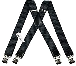 Mens Suspenders Wide Adjustable and Elastic Braces X Shape with Very Strong Clips - Heavy Duty (Grey)