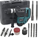 "ARKSEN© Electric Rotary Hammer, Case, 1100 Watts, 1-1/2"", SDS Drill, Green"