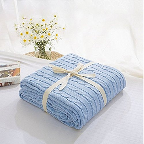 Megach Crocheted Blanket Handmade 100% Cotton Super Soft Warm Multi Color Throw Blanket for Kids or Adults Bedroom Sofa/Bed/Couch/Car/Office (180cm200cm, Light Blue)