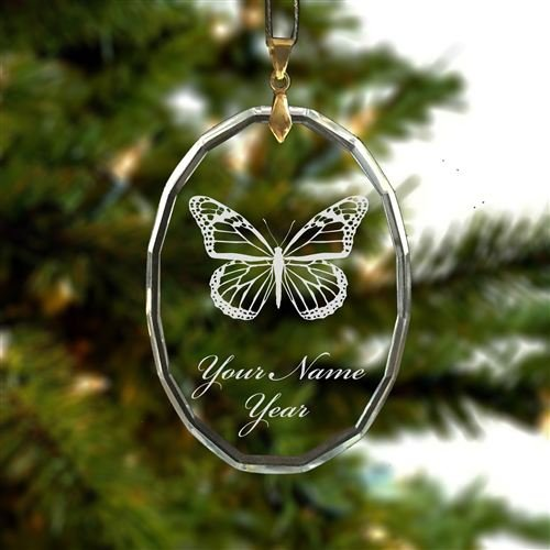 Personalized Oval Crystal Christmas Ornament - Monarch Butterfly - Engraved for Free (Crystal Butterfly Ornament compare prices)