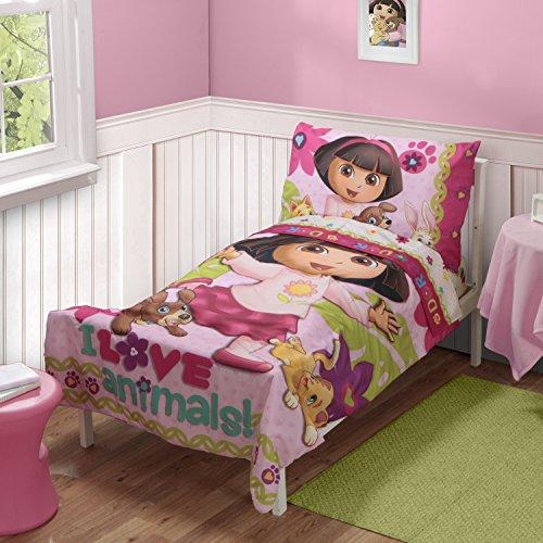 Dora The Explorer Pets Toddler Bed Set, Pink front-177902