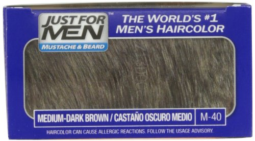 Just For Men Mustache and Beard Brush-In Color Gel, Medium Dark Brown (Pack of 3)