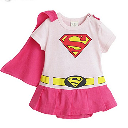 [SUPERMAN SUPER GIRL BABY GROW FUNKY CUTE FANCY DRESS OUTFIT GIFT (2-24 MONTHS) (90cm(12-18M), SUPERGIRL PINK SHORT] (Baby Girl Spider Halloween Costume)