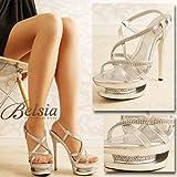 【BELSIA】美脚安定感♪shinyビジュークロスストラップ*gorgeousサンドヒールサンダル-silver*sh88815-SV
