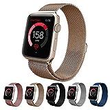 Apple Watch バンドTeslasz 38mm 網状 交換ストラップ ステンレススチル マグネットクラスプ Apple iWatch 全種類対応 (38 MM, ゴールド)