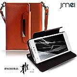 FREETEL SAMURAI MIYABI FTJ152C カバー jmeiオリジナルレザー手帳カバー Dandy オレンジ(無地) simフリー フリーテル 雅 スマホケース 手帳型 スマートフォン ケース