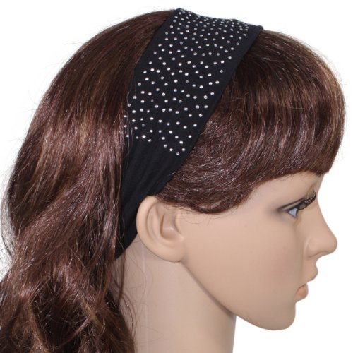 Simple Sparkling Rhinestone Stretch Cotton Headband - Black