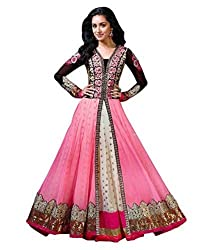 BK ENTERPRISE Women's Pink Embroidered Net Dresses(bk-559_freesize)