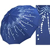 シャンデリアプリント柄 14本骨 雨傘 2色展開 ジャンプ式 女子力UP傘 紺色