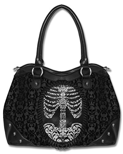 Banned Black Goth Steampunk Flocked Ribcage Skeleton Cameo Handbag Shoulder Bag