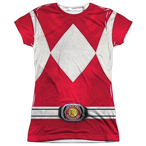 Power Rangers Children's Live Action TV Series Red Costume Junior Front Print T