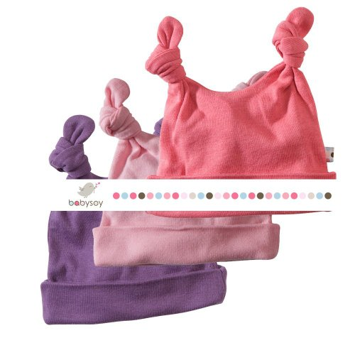 Baby Soy Essentials 3-piece Double Knot Hat for Girls (Blossom, Petal, Eggplant)