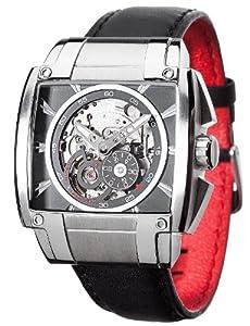Detomaso Herren-Armbanduhr METAURO Silver/Black Analog Automatik Leder DT2048-A