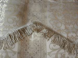 Jacquard Ivory, Silver, Gold Window Curtains Panels w/ Attached Valance 60x90