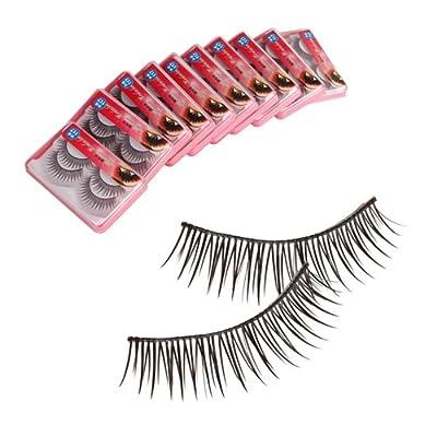 New 20 Pairs Fake False Eyelashes Eye Lash Black with Glue HR-117