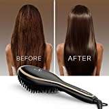 USpicy Hair Straightener Brush with FREE Heat Resistant Glove for Silky Frizz-free Hair (450℉/230℃, Adjustable Temperature, Auto Lock, 30-min Timer, Anti-Scald) - Matte Black