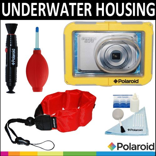 Polaroid Dive-Rated Waterproof Camera Housing + Polaroid Floating Wrist Strap + Polaroid 5 Piece Camera Cleaning Kit + Polaroid Lenspen Lens Cleaner + Polaroid Super Blower For The Canon Powershot A4000 Is, A3400, A3300, A3200, A3100, A3000, A2400, A2300,
