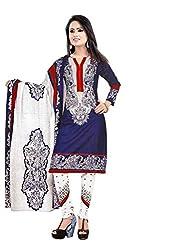 Kesar Sarees Womens Cotton Dress Material (P1021 Blue _Blue _Free Size)