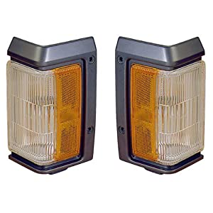 1993-1994-1995 Nissan Pathfinder Turn Signal Park Lamp (with Chrome Trim) Corner Park Light Pair Set Right Passenger And Left Driver Side (95 94 93)