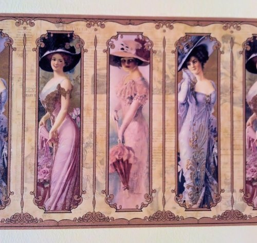 Wallpaper Border Old Fashioned Victorian Ladies