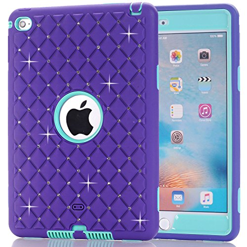 iPad Mini 4 Case, Speedup Diamond Studded Crystal Rhinestone 3 in 1 Bling Hybrid Shockproof Cover Silicone and Hard PC Case For Apple 7.9 inch iPad Mini4 (Purple / Mint) (Deer Rear Bottle Opener compare prices)