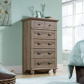 Sauder Harbor View 5-Drawer Chest in Salt Oak