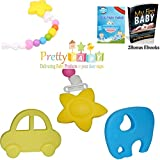 Picture Of <h1>Silicone Baby Teether Toy for Baby Showers Gifts, Registry. Silicone Pacifier Clip on with Chewbeads. Better Than Vulli Sophie the Giraffe Teether and Baltic Amber Teething Necklace for Mom. Bonus 2 Free E-books.</h1>