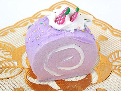 ロールケーキ型 ヘアピン 子ども スイートティーブレイクイチゴ パープル