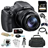 Sony DSC-HX300 20.4MP Digital Camera with 50x Optical Zoom and 3-Inch LCD in Black + Sony 32GB SDHC + Camera Case + Micro HDMI Cable + Accessory Kit