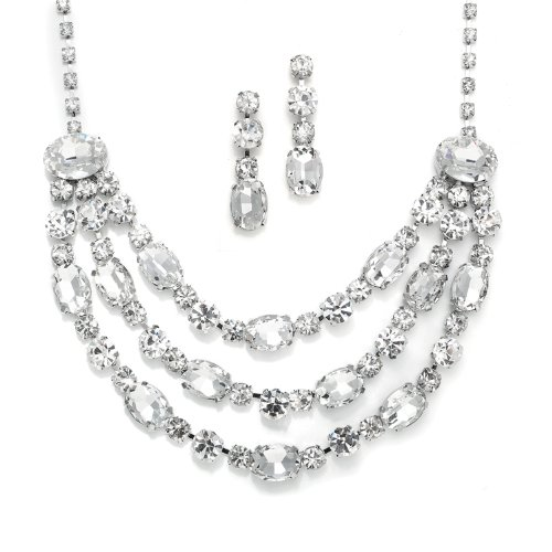 Three Row Oval Bling Necklace Set