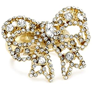 "Betsey Johnson ""Iconic Vintage Hearts"" Crystal Bow Stretch Ring, Size 7.5"
