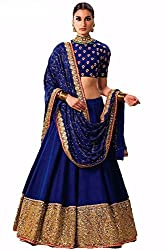 Shree Ganesh Women's Designer Multi-Coloured Silk Semi-Stitched Lahenga Choli [L16sakshi_Multi-Coloured]