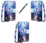 SAMSUNG GALAXY ACE S5830/ S5830i/ S5839i VARIOUS DESIGN CARD POCKET HOLDER PU LEATHER MAGNETIC FLIP CASE COVER POUCH + FREE STYLUS (blue butterfly style 1 flip)