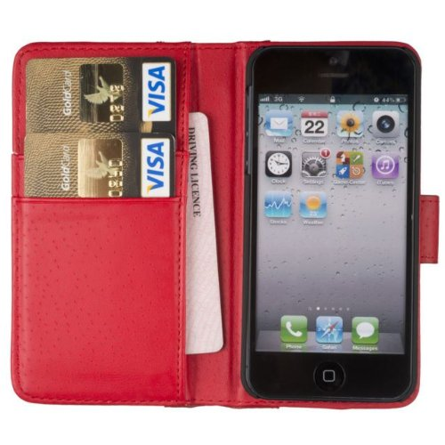 Best Price Fonerize Leather Wallet and iPhone 5 & 5S Case and Credit Card Holder in Red