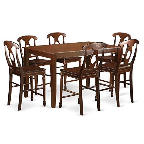 east west furniture duke7h mah w 7 piece high top table and 6 dinette chairs set mahogany. Black Bedroom Furniture Sets. Home Design Ideas