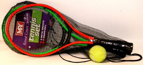 M.Y ROYAL COURT 2 PLAYER TENNIS RACKET SET 2 METAL RACKETS AND A BALL