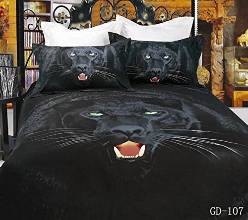 Queen King Size 100% Cotton 7-Pieces 3D Big Black Leopard Head Animal Prints Fitted Sheet Set With Rubber Around Duvet Cover Set/Bed Linens/Bed Sheet Sets/Bedclothes/Bedding Sets/Bed Sets/Bed Covers/ Comforters Sets Bed In A Bag (Queen) front-591432