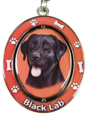 "Black Lab Key Chain ""Spinning Pet Key Chains""Double Sided Spinning Center With Black Labs Face Made Of Heavy Quality Metal Unique Stylish Black Lab Gifts"