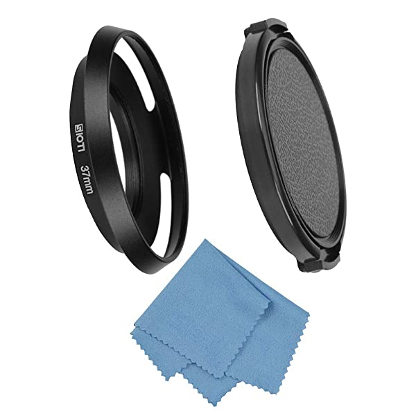 SIOTI Filmy Wide Angle Vented Metal Lens Hood with Cleaning Cloth and Lens Cap Compatible with Leica/Fuji/Nikon/Canon/Samsung Standard Thread Lens (Color: Wide Angle Vented, Tamaño: 37mm)