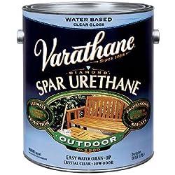 Rust-Oleum VARATHANE Water-Based Spar Urethane for Exterior Furniture & Wood Polish, 3.78 Liters, GLOSS Finish