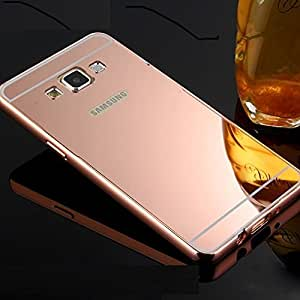 Plus Branded Luxury Metal Bumper Acrylic Mirror Back Cover Case For Samsung Galaxy J7 - Rose Gold Plated