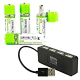EasyPower USB AA Rechargeable Batteries 4 Pack w/4-Port USB Hub (Tamaño: USB BATTERIES + CHARGING PORT)