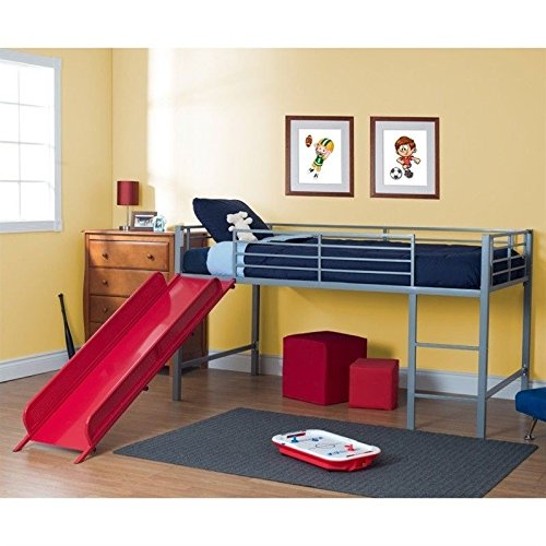 DHP Junior Fantasy Loft Bed, Silver with Red Slide