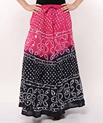 Soundarya Womens Ethnicwear Bandhej Cotton Skirt with Hand work (Pink, Free Size) (Sk-240)