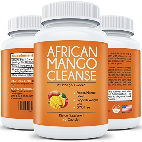 African Mango Cleanse for Quick Weight Loss: Purest African Mango Extract with No Filler - Natural Irvingia Gabonensis - Pure Diet Detox - 100% Money Back Guarantee - 60 Supplement Pills (Mango Extract Weight Loss compare prices)