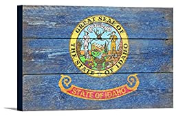 Idaho State Flag - Barnwood Painting (36x24 Gallery Wrapped Stretched Canvas)